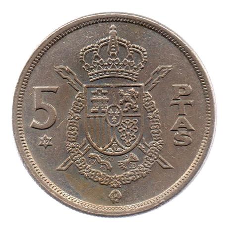 (W064.005.1975.1.3.ttb.000000001) 5 Pesetas Juan Carlos Ier 1975 (79 dans l'étoile) Revers