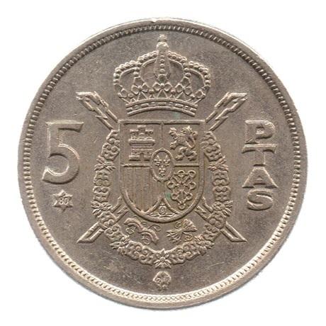 (W064.005.1975.1.4.ttb.000000001) 5 Pesetas Juan Carlos Ier 1975 (80 dans l'étoile) Revers