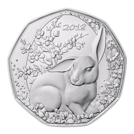(EUR01.ComBU&BE.2018.23372) 5 euro Autriche 2018 argent BU - Lapin de Pâques (en coffret) Revers