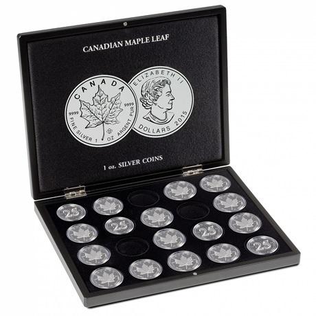 (MAT01.Cofméd&écr.Cof.348034) Coffret Leuchtturm - 5 Dollars Canada 1 once argent - Feuille d'érable (ouvert)