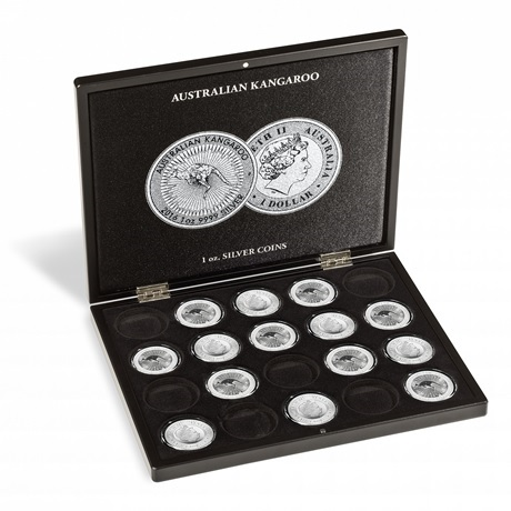 (MAT01.Cofméd&écr.Cof.355190) Coffret Leuchtturm - 1 Dollar Australie 1 once argent - Kangourou (ouvert)