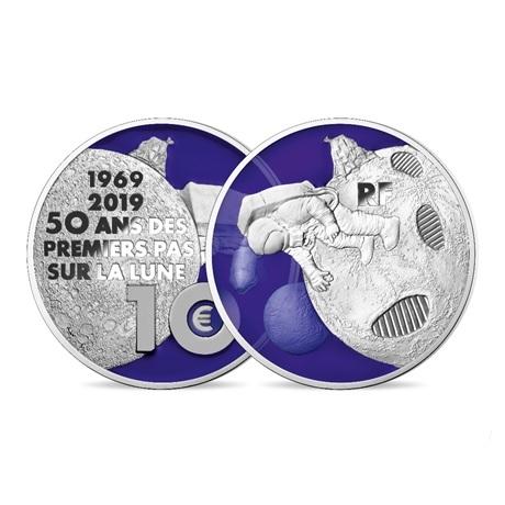 10 euro France 2019 argent BE - Premiers pas sur la lune (transparence avers)