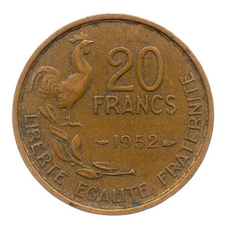 (FMO.20.1952.3.7.ttb.000000001) 20 Francs G. Guiraud 1952 Revers