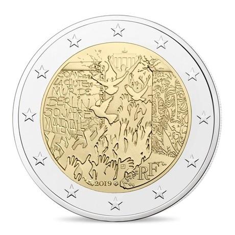 (EUR07.ComBU&BE.2019.200.BU.10041330020000) 2 euro commémorative France 2019 BU - Mur de Berlin Avers