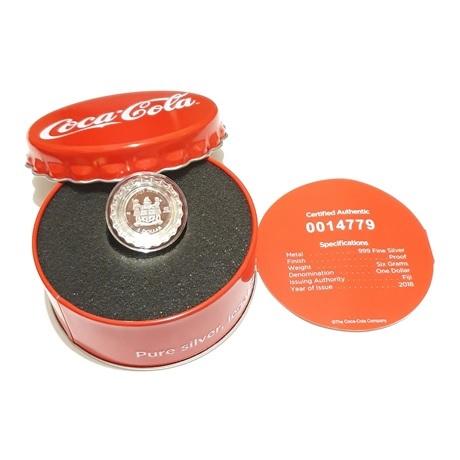 (W073.100.2018.6.g.ag.bullco.1.0014779) 1 dollar Fidji 2018 6 grammes argent BE - Coca-Cola Avers
