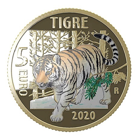 (EUR10.ComBU&BE.2020.500.BE.48-2MS10-20P006) 5 euro Italie 2020 BE - Tigre Revers