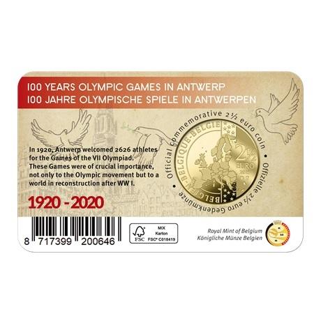 (EUR02.ComBU&BE.2020.250.BU.COM1) 2,5 euro Belgique 2020 BU - Jeux Olympiques Anvers Verso