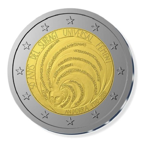 (EUR24.ComBU&BE.2020.200.BU.COM2) 2 euro Andorre 2020 BU - Suffrage universel féminin