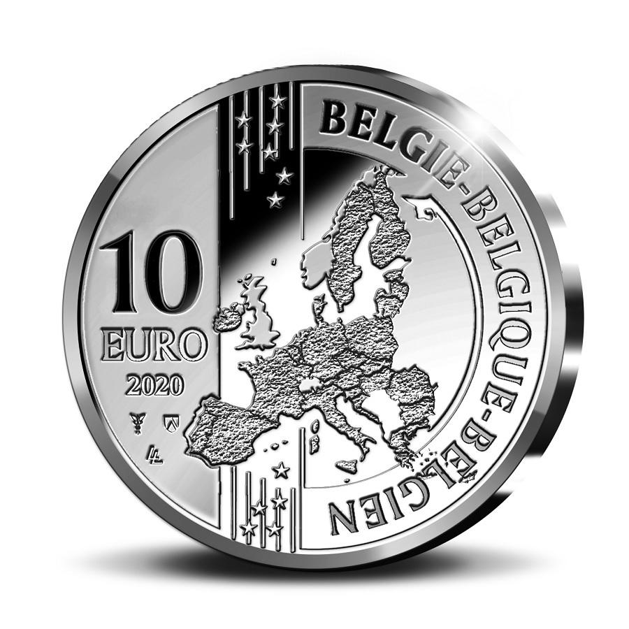 (EUR02.ComBU&BE.2020.1000.BE.COM1) 10 euro Belgium 2020 Proof Ag - Christophe Plantin Obverse (zoom)