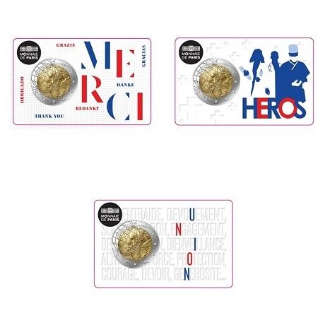 2 euro commémorative France 2020 BU - Recherche médicale (série des 3 coin cards)