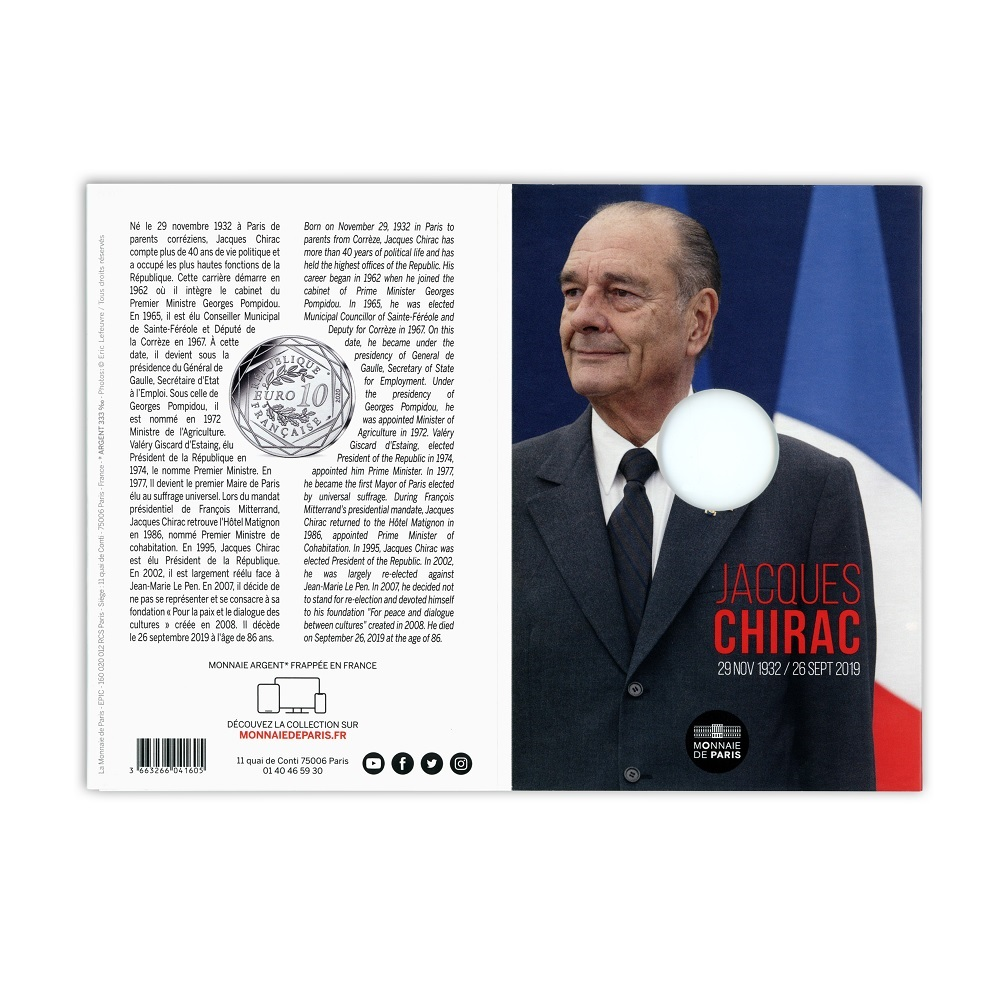 (EUR07.1000.2020.10041349410005) 10 euro France 2020 Ag - Jacques Chirac (open) (zoom)