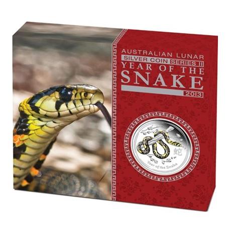 (W017.1.D.2013.2S1316DDAA) 1 Dollar Australie 2013 1 oz Ag BE - Année du Serpent (boîte)