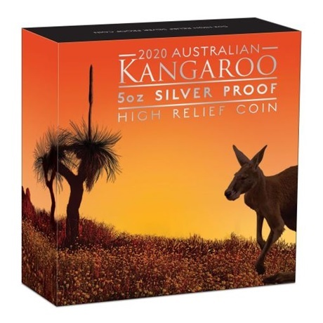 (W017.8.D.2020.20324KAAA) 8 Dollars Australie 2020 5 oz Ag BE - Kangourou (boîte)