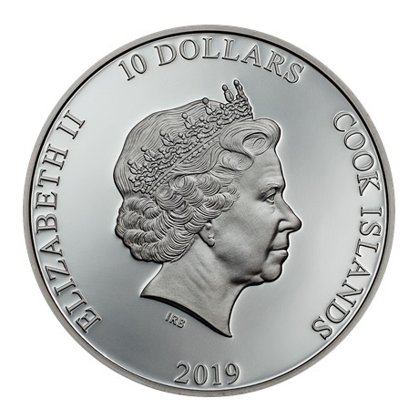 (W099.10.D.2019.2.oz.Ag.1) 10 Dollars Iles Cook 2019 2 onces argent BE - Ancre Avers