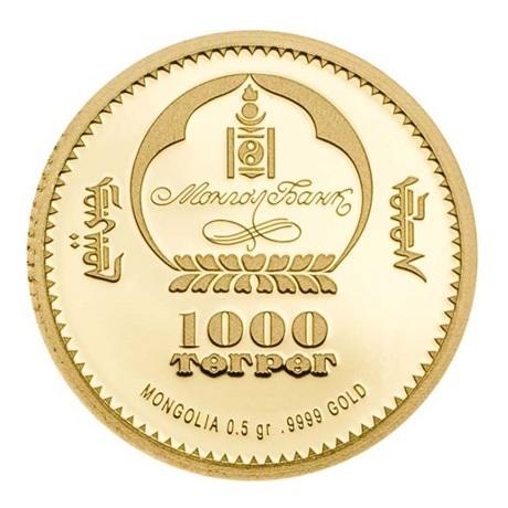 (W151.1000.Tögrög.2017.0,50.g.Au.1) 1000 Tögrög Mongolie 2017 0,50 gramme or BE - Ichtyosaure Avers