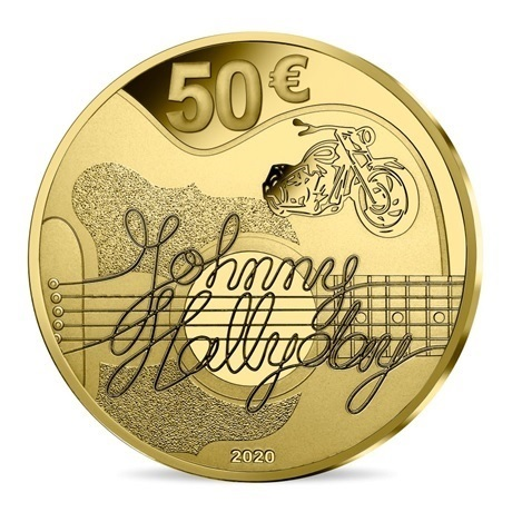 (EUR07.ComBU&BE.2020.10041344280000) 50 euro France 2020 or BE - Johnny Hallyday Revers