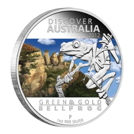 (W017.1.D.2012.1218DAAA) 1 Dollar Australie 2012 1 once argent BE - Rainette verte et dorée Revers