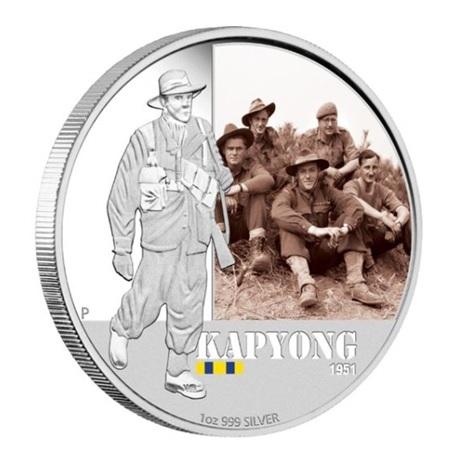 (W017.1.D.2012.12R11AAA) 1 Dollar Australie 2012 1 once argent BE - Bataille de Kapyong Revers
