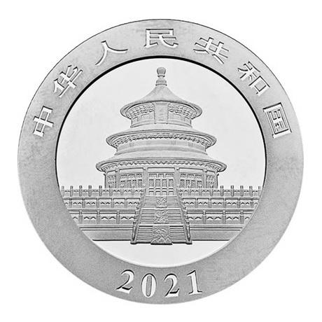 (W041.10.Yuan.2021.30.g.Ag.1) 10 Yuan Chine 2021 30 g argent - Panda Avers