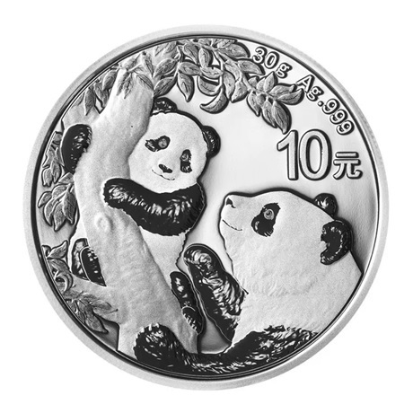(W041.10.Yuan.2021.30.g.Ag.1) 10 Yuan Chine 2021 30 g argent - Panda Revers