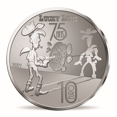 (EUR07.ComBU&BE.2021.10041354950000) 10 euro France 2021 argent BE - Lucky Luke Revers
