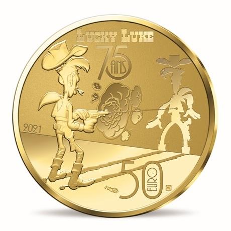 (EUR07.ComBU&BE.2021.10041356270000) 50 euro France 2021 or BE - Lucky Luke Revers