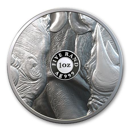 (W002.5.R.2020.1.oz.Ag.1) 5 Rand Afrique du Sud 2020 1 once argent BE - Rhinocéros Revers