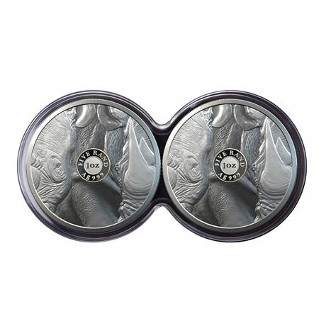 (W002.5.R.2020.1.oz.Ag.2) Diptyque 5 Rand Afrique du Sud 2020 1 oz Ag BE - Rhinocéros (contenu)