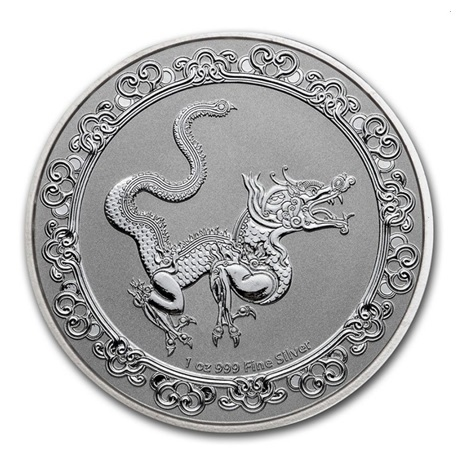 (W160.200.2020.1.oz.Ag.7) 2 Dollars Niue 2020 1 once argent BU - Dragon jaune Revers