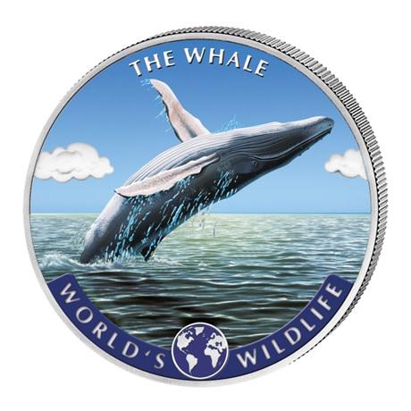 (W180.20.F.2020.1.oz.Ag.2.1) 20 Francs Congo 2020 1 once argent - Baleine (colorisée) Revers