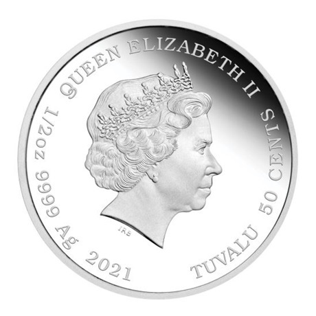 (W228.1.50.C.2021.21G46AAA) 50 Cents Tuvalu 2021 0,50 once argent BE - Bébé boeuf Avers