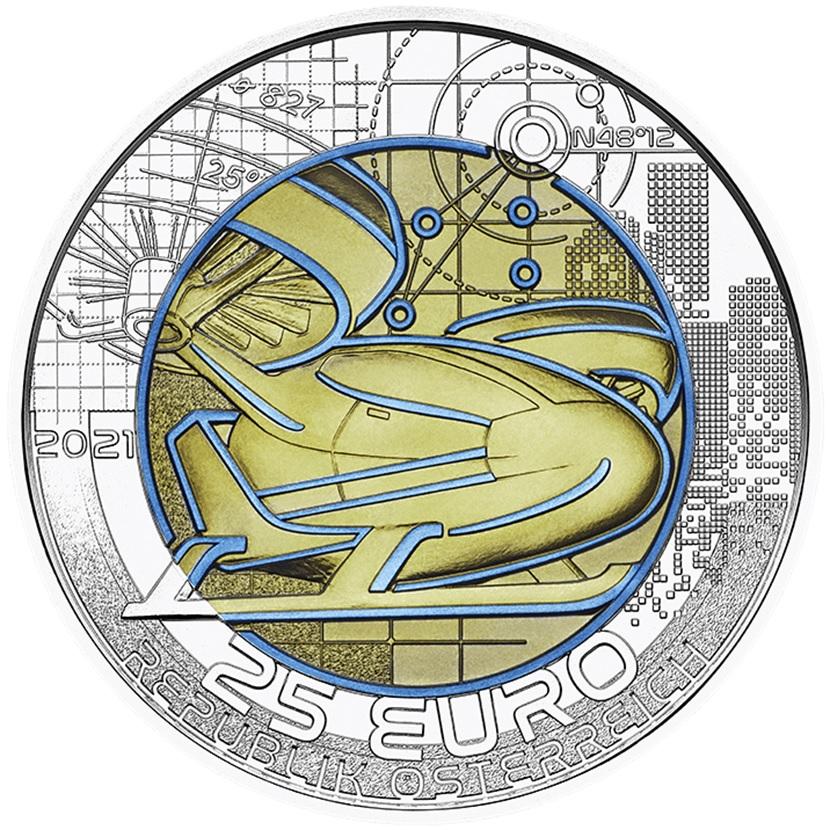 (EUR01.ComBU&BE.2021.25141) 25 euro Austria 2021 BU silver and niobium - Smart mobility Obverse (zoom)