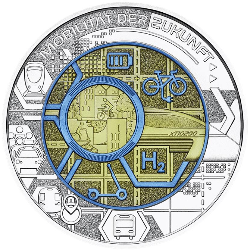 (EUR01.ComBU&BE.2021.25141) 25 euro Austria 2021 BU silver and niobium - Smart mobility Reverse (zoom)