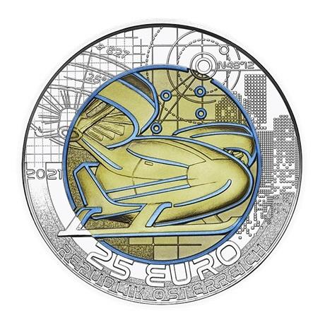 (EUR01.ComBU&BE.2021.25141) 25 euro Autriche 2021 argent et niobium BU - Mobilité intelligente Avers