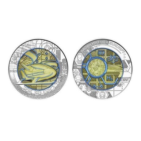 (EUR01.ComBU&BE.2021.25141) 25 euro Autriche 2021 argent et niobium BU - Mobilité intelligente