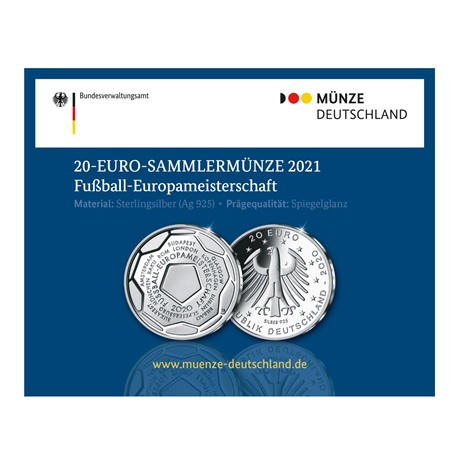(EUR03.Proof.2020.910100sj) 20 euro Allemagne 2020 J Ag BE - Championnat Europe football (packaging)
