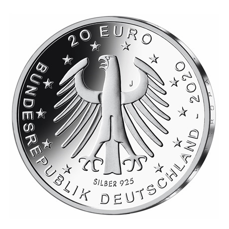 (EUR03.Proof.2020.910100sj) 20 euro Allemagne 2020 J argent BE - Championnat Europe football Avers