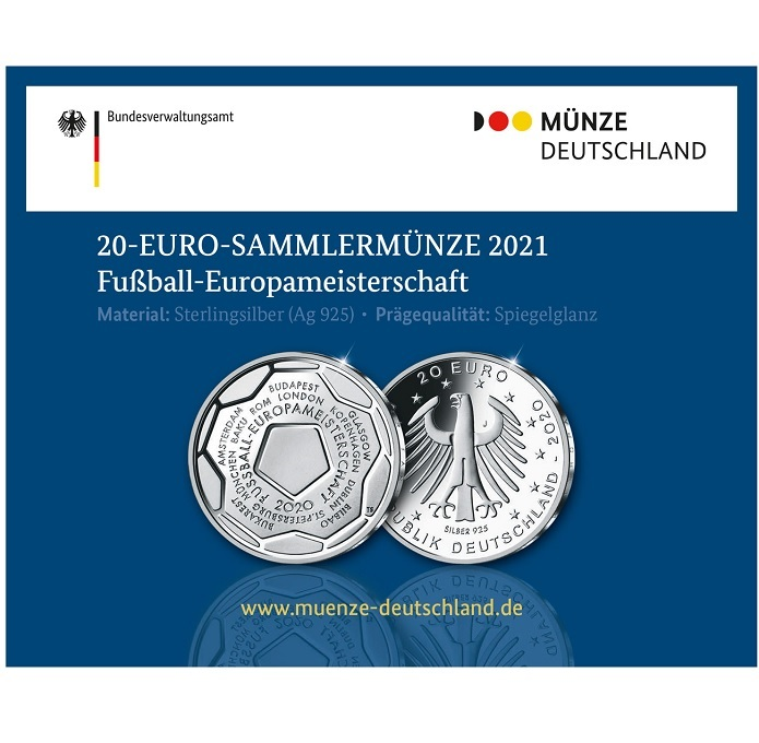 (EUR03.Proof.2020.910100sj) 20 euro Germany 2020 J Proof Ag - UEFA Euro 2020 (packaging) (zoom)