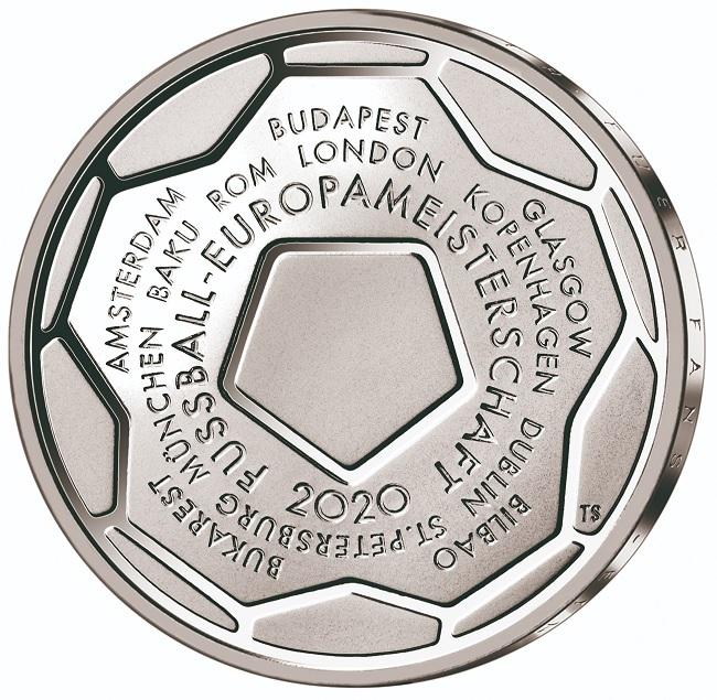 (EUR03.Proof.2020.910100sj) 20 euro Germany 2020 J Proof silver - UEFA Euro 2020 Reverse (zoom)