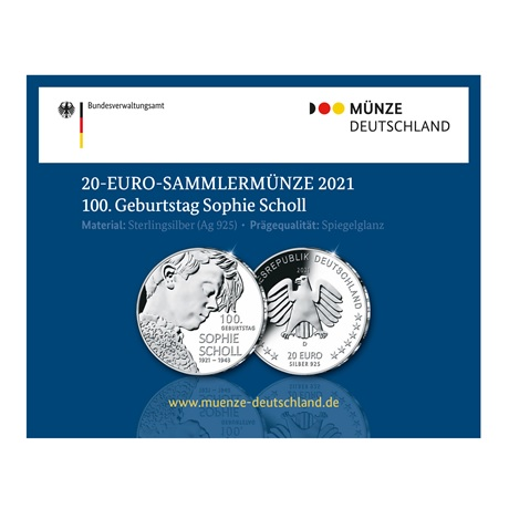 (EUR03.Proof.2021.910104sd) 20 euro Allemagne 2021 D Ag BE - Sophie Scholl (packaging)