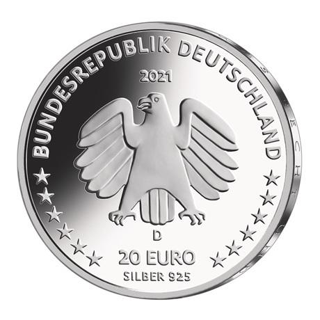 (EUR03.Proof.2021.910104sd) 20 euro Allemagne 2021 D argent BE - Sophie Scholl Avers