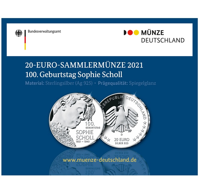 (EUR03.Proof.2021.910104sd) 20 euro Germany 2021 D Proof Ag - Sophie Scholl (packaging) (zoom)