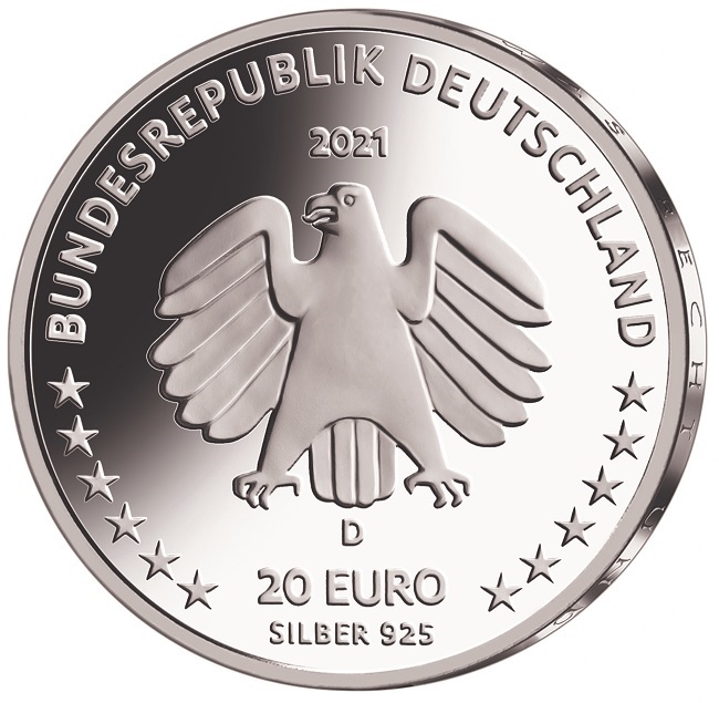 (EUR03.Proof.2021.910104sd) 20 euro Germany 2021 D Proof silver - Sophie Scholl Obverse (zoom)