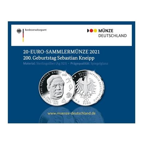 (EUR03.Proof.2021.910105sg) 20 euro Allemagne 2021 G Ag BE - Sébastien Kneipp (packaging)