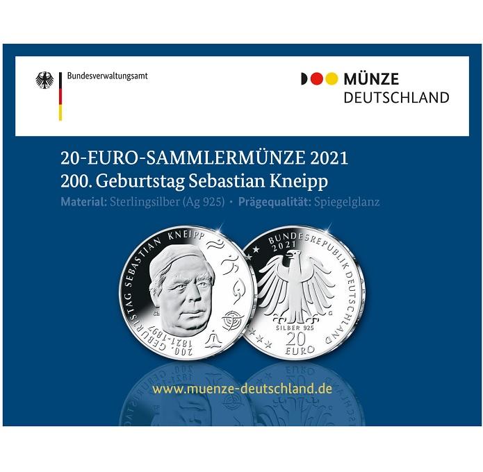 (EUR03.Proof.2021.910105sg) 20 euro Germany 2021 G Proof Ag - Sebastian Kneipp (packaging) (zoom)
