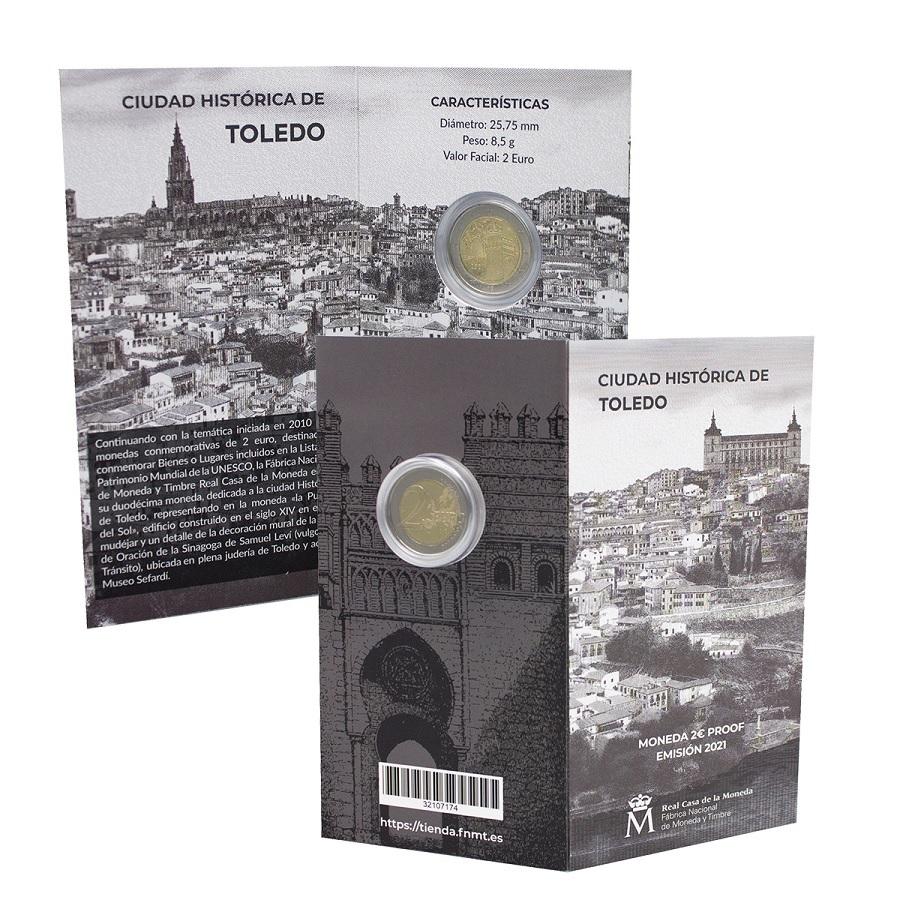 (EUR05.ComBU&BE.2021.32107174) 2 euro Spain 2021 Proof - Puerta del Sol, in Toledo (zoom)
