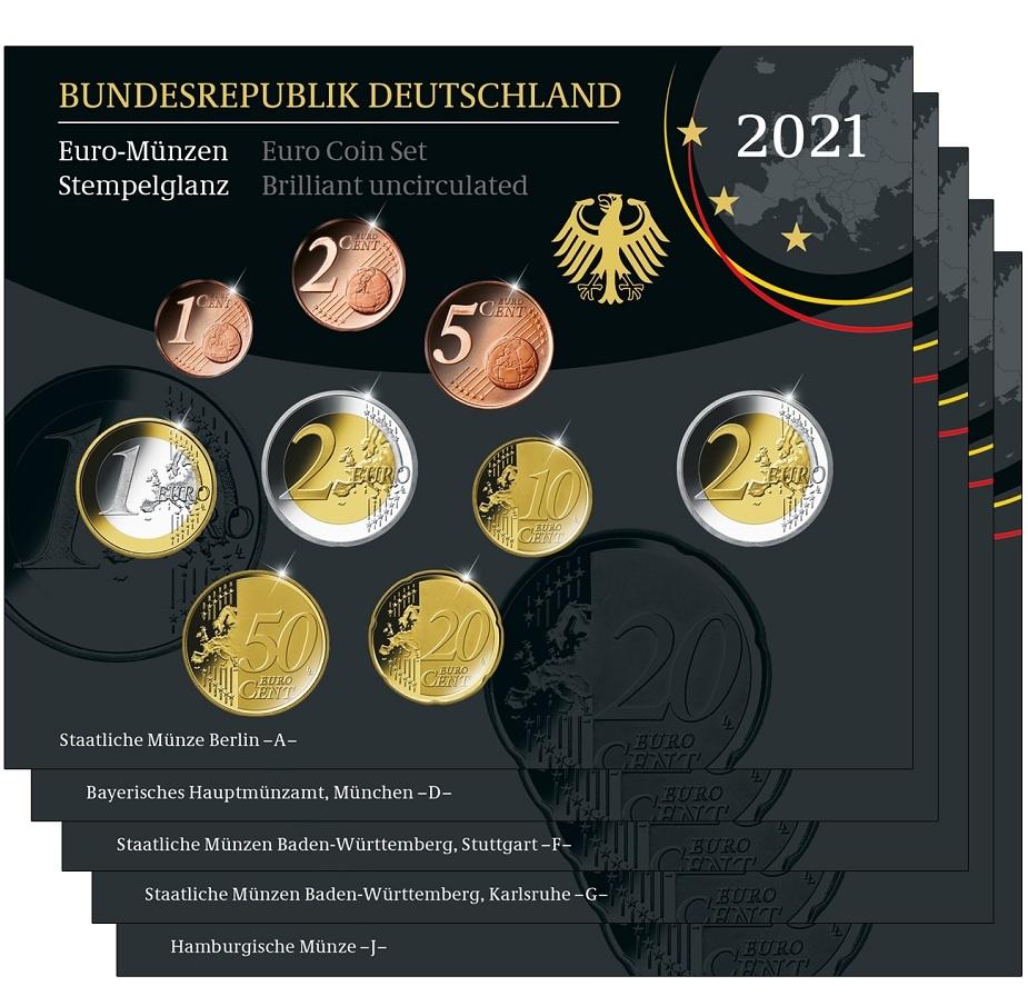 (LOT.EUR03.BU.sets.2021.A.to.J.90um21n) BU coin sets Germany 2021 (all 5 Mints A, D, F, G & J) (zoom)
