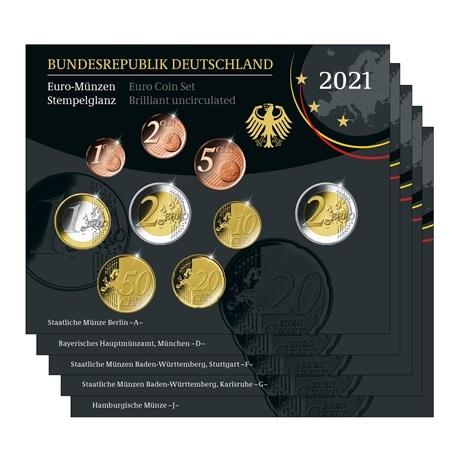 (LOT.EUR03.BU.sets.2021.A.to.J.90um21n) Coffrets BU Allemagne 2021 (les 5 ateliers A, D, F, G et J)