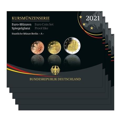 (LOT.EUR03.Proof.sets.2021.A.to.J.90um21s) Coffrets BE Allemagne 2021 (les 5 ateliers A, D, F, G et J)