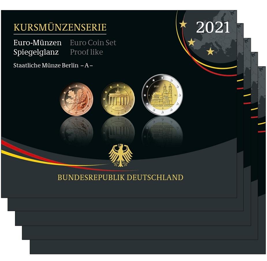 (LOT.EUR03.Proof.sets.2021.A.to.J.90um21s) Proof coin sets Germany 2021 (all 5 Mints A, D, F, G & J) (zoom)